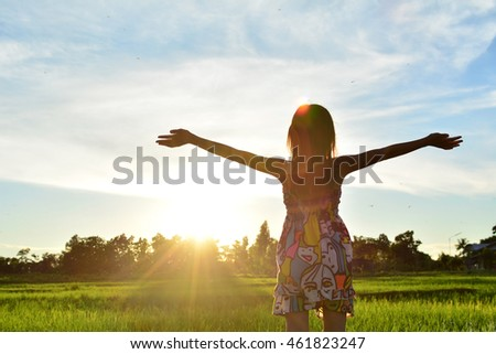 A girl relax in sunset