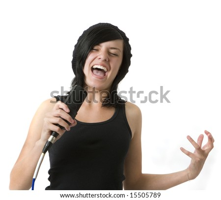 A girl sings and gestures - stock photo