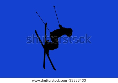 a girl skier performing a high jump with her skis crossed (tele-heli). Isolated on white background