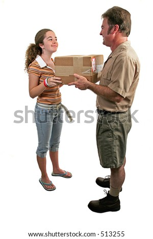 a girl taking delivery of a package from a courier - stock photo