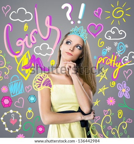A girl thinking about different things - stock photo