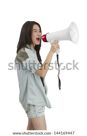 a girl uses a megaphone on white background