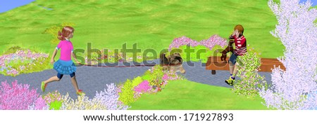 a girl walks her dog in the park, green nature, a boy is playing with a little dog on the bench, 3D illustration