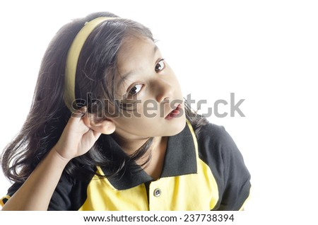 A girl want to hear something - stock photo
