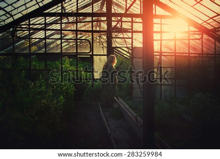 a girl, wearing camouflage, is walking in sunset