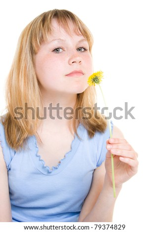 A girl with a flower on a white background - stock photo