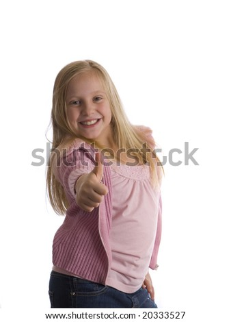 A girl with a thumbs up in a pose - stock photo