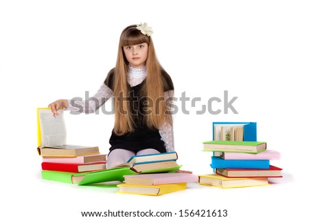 a girl with bright books on a white background