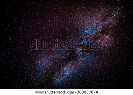A glance into the centre of our galaxy, the Milky Way. Shot at a focal length of 70mm. - stock photo