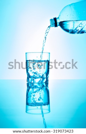 A glas of fresh water, with a bottle