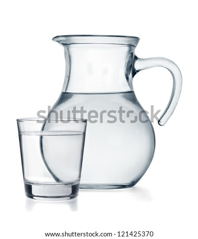 A glass and a jug full of water isolated on white background - stock photo