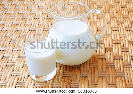a glass and a jug of fresh milk - stock photo