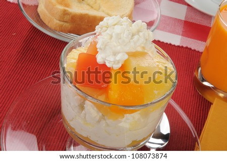 A glass dish of cottage cheese with pineapple, papaya and mango