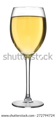 A glass filled with white wine isolated on a white background - stock photo