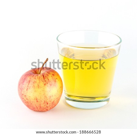 A glass of apple juice isolated on white background.