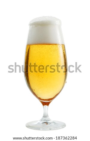 A glass of beer isolated on white