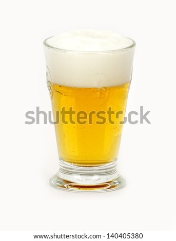 a glass of beer on a white background - stock photo