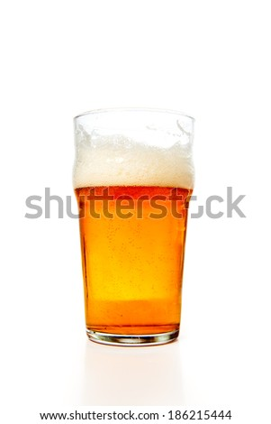 A glass of beer on a white background.