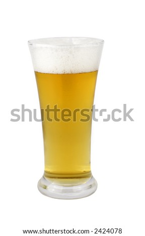 A glass of beer over white background