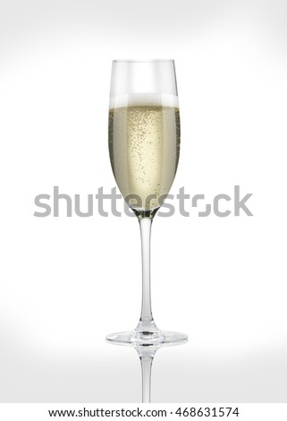 A glass of champagne on a white background.