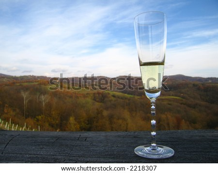 A glass of champagne on a wooden ledge overlooking the wine-producing countryside after vintage.
