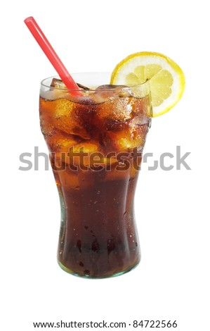 a glass of cola on white - stock photo