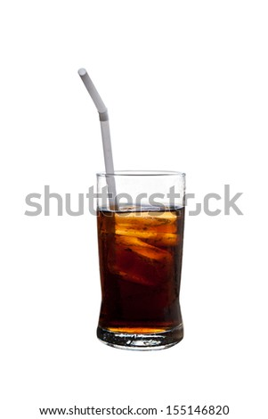 a glass of cola on white background.