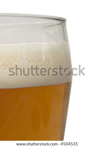 A glass of foaming beer - stock photo