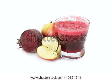 A glass of fresh apple and  beet juice isolated on white background. - stock photo