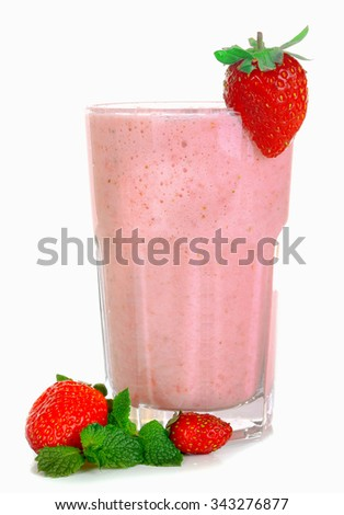 A glass of fresh cold strawberry smoothie, isolated on white