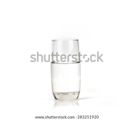 a glass of fresh drink water on white background - stock photo