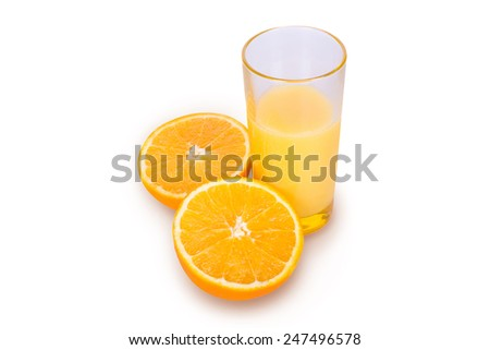 A glass of fresh orange juice on a white background