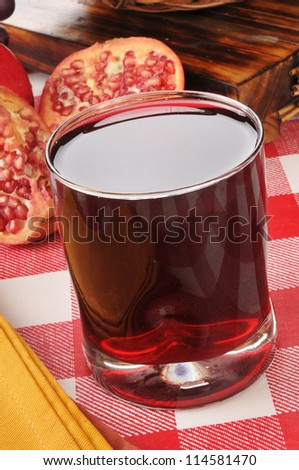A glass of fresh Pomegranate juice