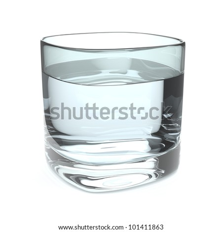 A glass of fresh water on white background