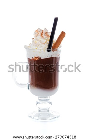 A glass of hot and delicious chocolate. - stock photo