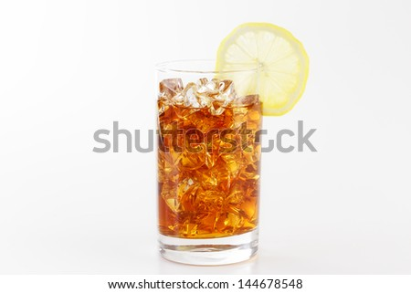 A glass of Ice tea on the white background