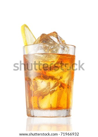 A glass of Ice Tea with a lemon slice on white. - stock photo