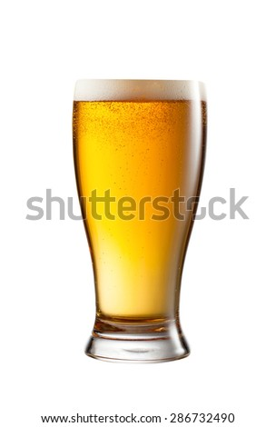 a glass of light beer - stock photo