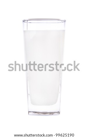 A glass of milk. Photographed on a white background.