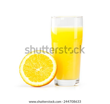 A glass of orange juice on a white background and orange slices
