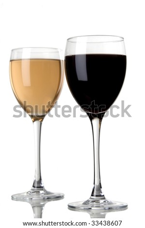 a glass of red wine and a glass of white wine