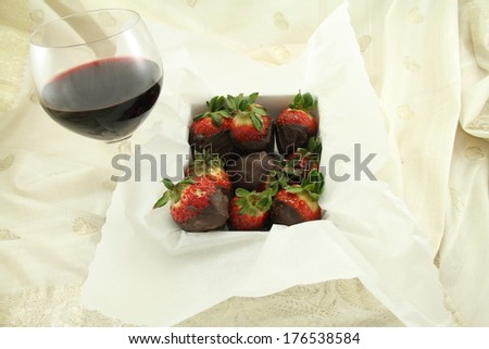 A glass of red wine and box of chocolate strawberries.