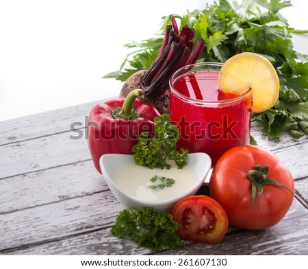 A glass of Tomato, beet,and yogurt juice
