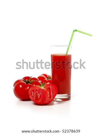A glass of tomato juice and tomatoes on a white background.