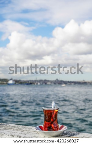 A glass of Turkish tea against sea in istanbul, Turkey