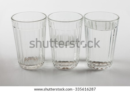 A glass of water; half full or half empty
