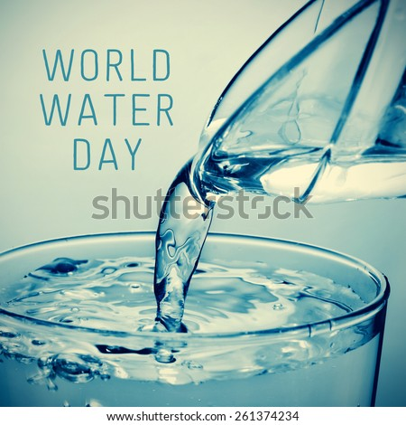 a glass of water which is being filled from a pitcher and the text world water day - stock photo