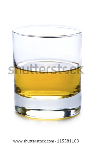 a glass of whisky or whiskey isolated on a white background