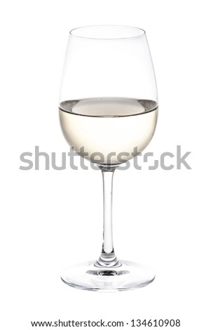 a glass of white wine - stock photo