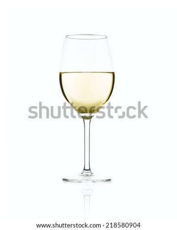 A glass of white wine with reflection. - stock photo